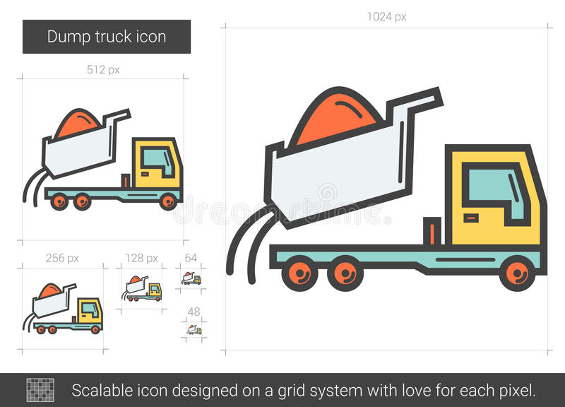 Usyp ciężarówki linii ikona royalty ilustracja