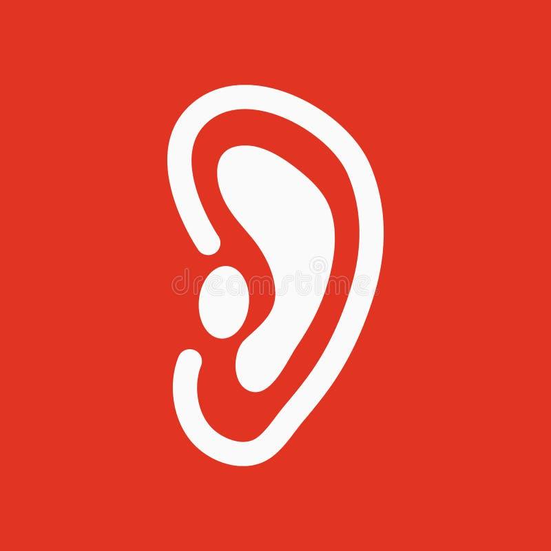 Uszata ikona Słucha symbol mieszkanie ilustracja wektor