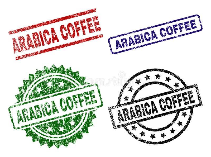 Uszkadzać Textured ARABICA kawy znaczka foki ilustracja wektor