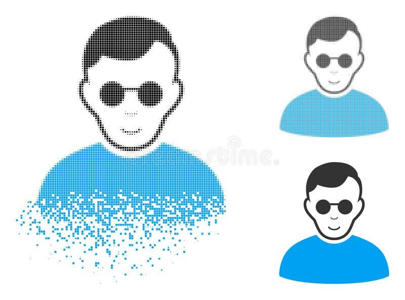 Uszkadzająca piksla Halftone Niewidomego mężczyzna ikona z twarzą ilustracja wektor