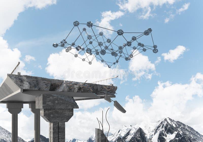 Uszkadzający kamienny most jako pomysł dla problemowego i ogólnospołecznego podłączeniowego pojęcia fotografia stock