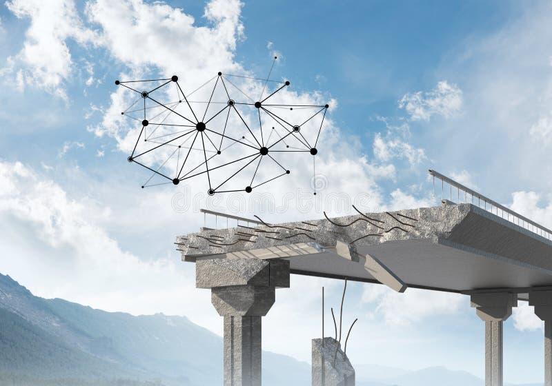 Uszkadzający kamienny most jako pomysł dla problemowego i ogólnospołecznego podłączeniowego pojęcia obraz royalty free