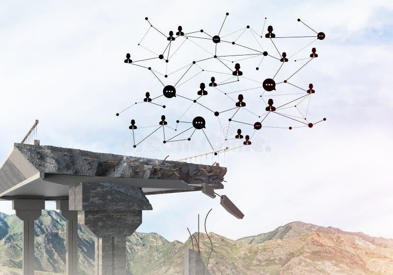 Uszkadzający kamienny most jako pomysł dla problemowego i ogólnospołecznego podłączeniowego pojęcia obrazy royalty free