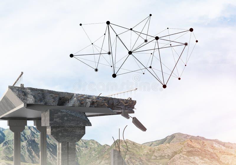 Uszkadzający kamienny most jako pomysł dla problemowego i ogólnospołecznego podłączeniowego pojęcia zdjęcie royalty free