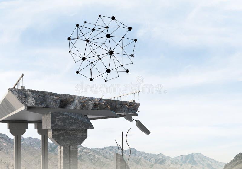 Uszkadzający kamienny most jako pomysł dla problemowego i ogólnospołecznego podłączeniowego pojęcia zdjęcia stock