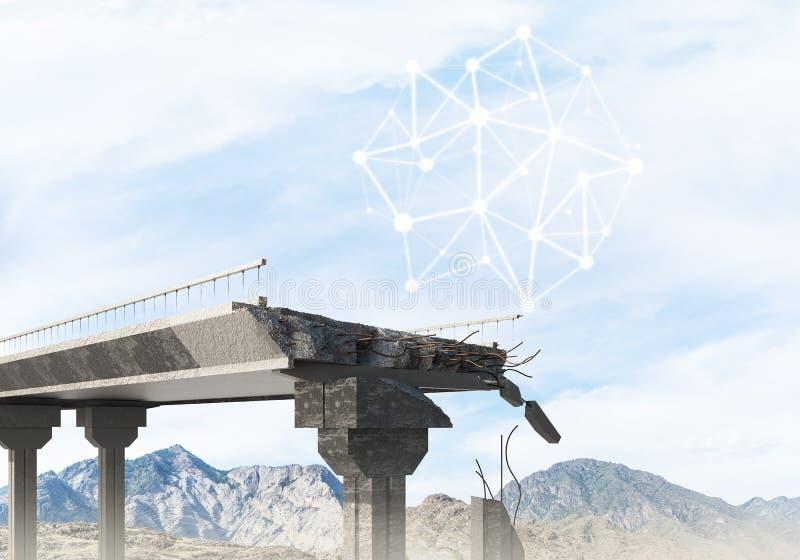 Uszkadzający kamienny most jako pomysł dla problemowego i ogólnospołecznego podłączeniowego pojęcia zdjęcia royalty free