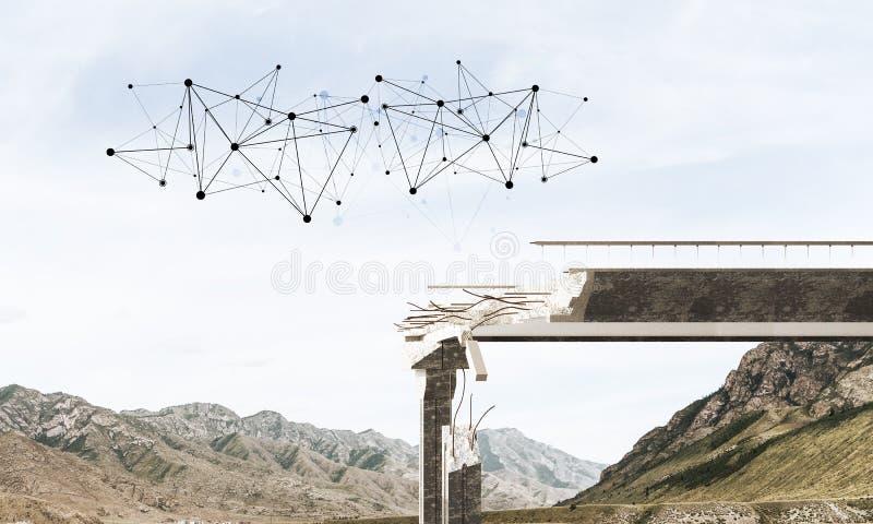 Uszkadzający kamienny most jako pomysł dla problemowego i ogólnospołecznego podłączeniowego pojęcia obrazy stock
