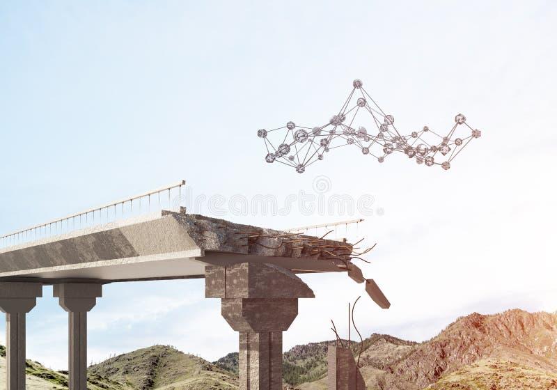 Uszkadzający kamienny most jako pomysł dla problemowego i ogólnospołecznego podłączeniowego pojęcia fotografia royalty free