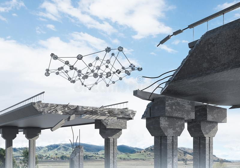 Uszkadzający kamienny most jako pomysł dla problemowego i ogólnospołecznego podłączeniowego pojęcia zdjęcie stock