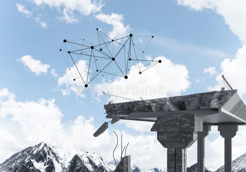 Uszkadzający kamienny most jako pomysł dla problemowego i ogólnospołecznego związku c obrazy royalty free