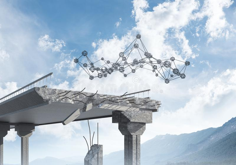Uszkadzający kamienny most jako pomysł dla problemowego i ogólnospołecznego związku c zdjęcie stock