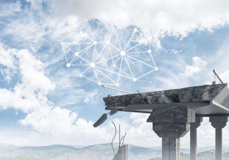 Uszkadzający kamienny most jako pomysł dla problemowego i ogólnospołecznego związku c obrazy stock