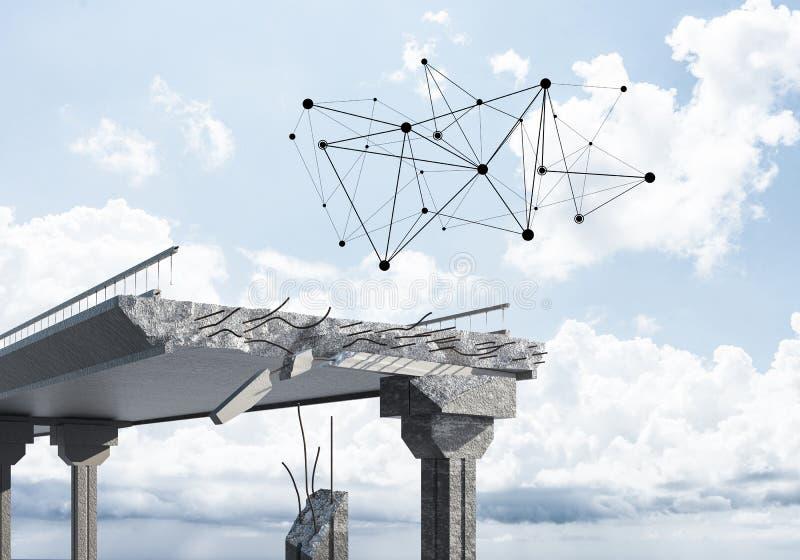 Uszkadzający kamienny most jako pomysł dla problemowego i ogólnospołecznego związku c zdjęcia royalty free