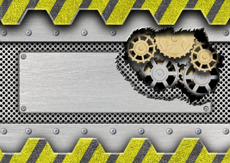 Uszkadzający metalu talerz z mechanizmem dla żelaznego tło projekta royalty ilustracja