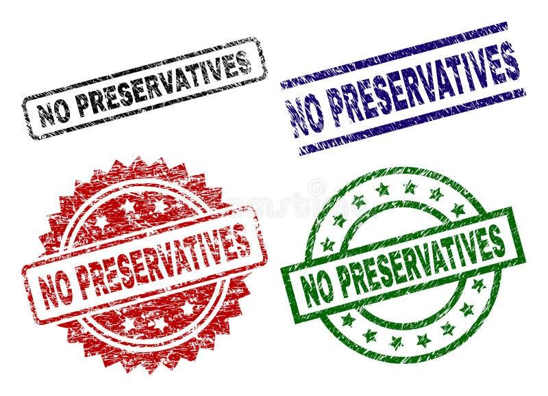 Uszkadzający Textured ŻADNY konserwant foki znaczki ilustracja wektor