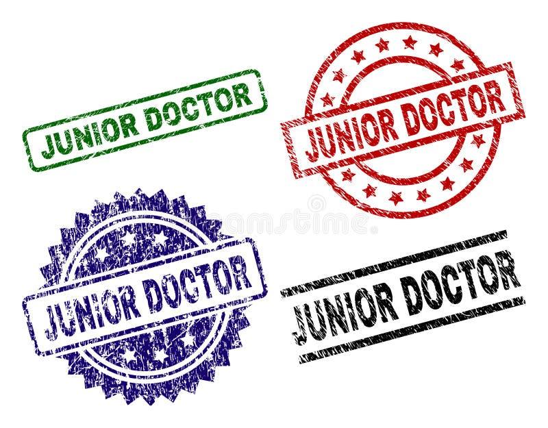 Uszkadzający Textured junior lekarki foki znaczki royalty ilustracja