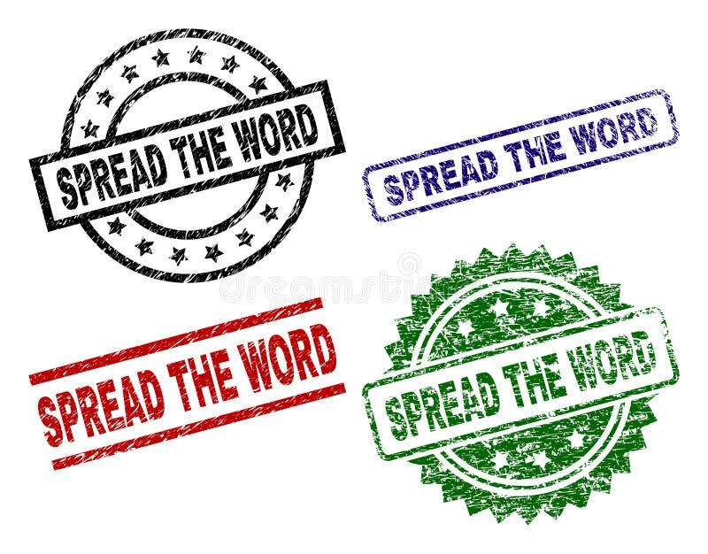 Uszkadzający Textured rozszerzanie się słowo foki znaczki ilustracji