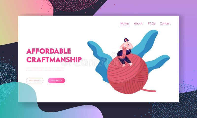 Uszycie strony internetowej lądowania strona Malutka dziewczyna Siedzi na Ogromnym gejtawie z Dziewiarskimi igłami Handcraft hobb ilustracja wektor