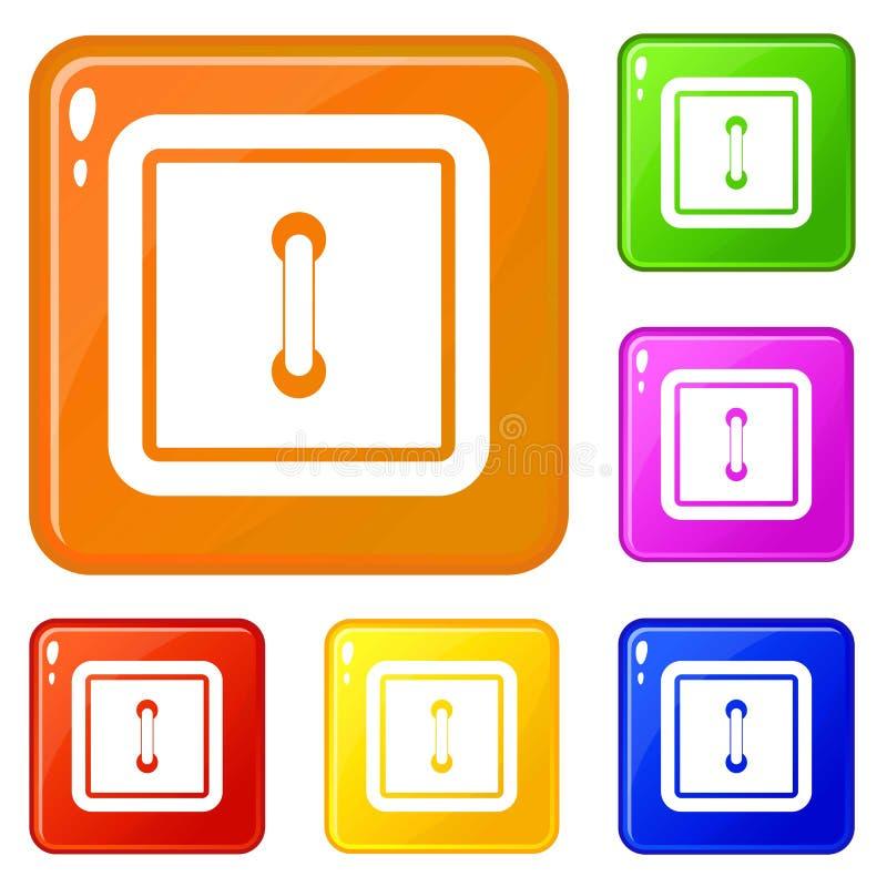Uszyte kwadratowe ikony ustawiający guzika wektorowy kolor ilustracja wektor
