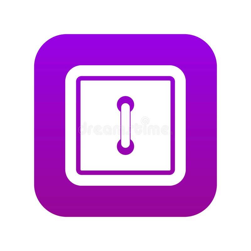 Uszytej kwadratowej guzik ikony cyfrowe purpury royalty ilustracja
