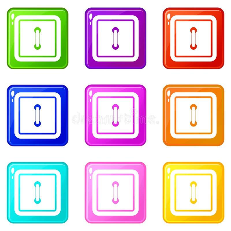 Uszyty kwadratowy guzik ustawia 9 ilustracja wektor