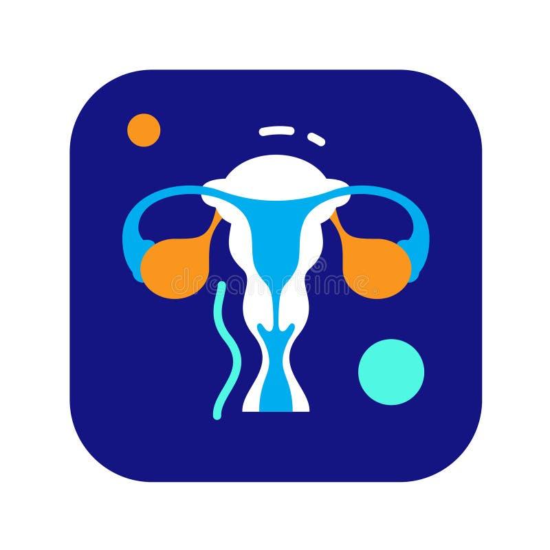 Utérus plat de plan d'emplacement d'organes de couleur, cervix, ovaire, icône de trompe utérine illustration de vecteur