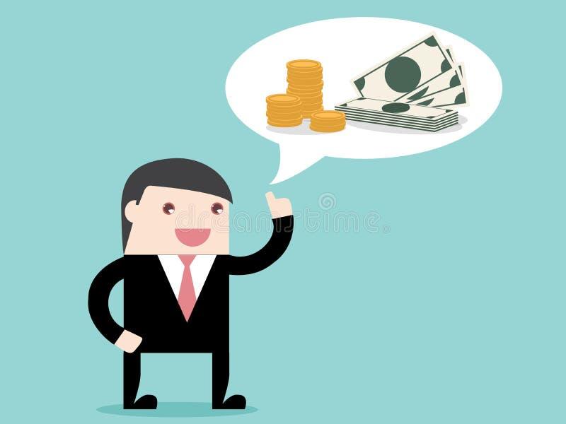 Utövande affärsman som tänker om pengar royaltyfri illustrationer