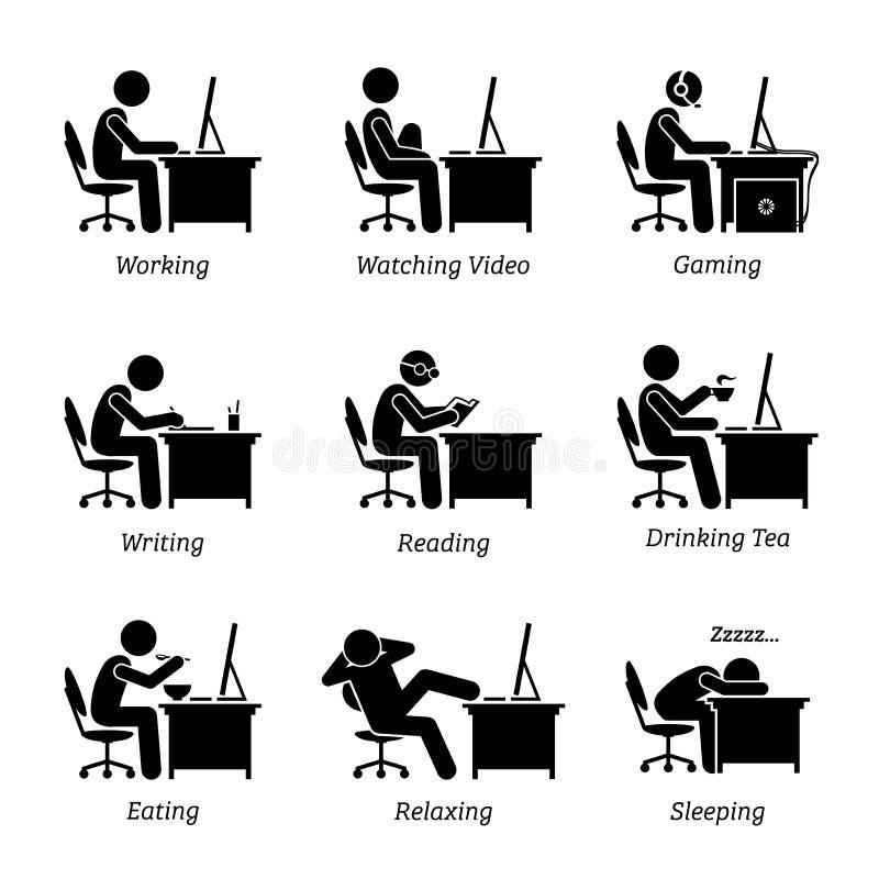 Utövande funktionsdugligt framme av en dator på kontorsarbetsplatsen vektor illustrationer