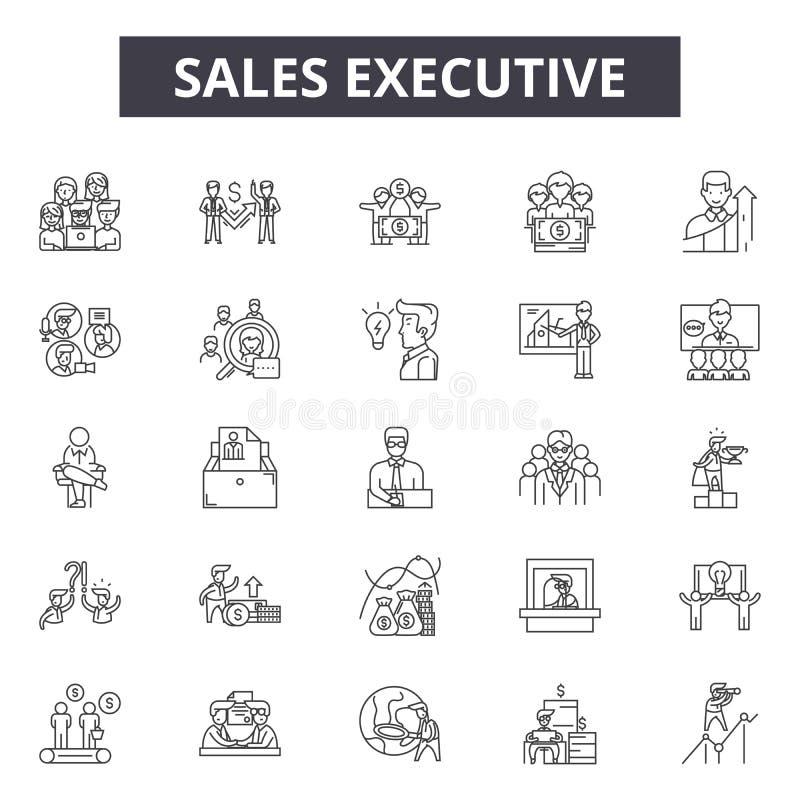 Utövande linje symboler, tecken, vektoruppsättning, översiktsillustrationbegrepp för försäljningar royaltyfri illustrationer
