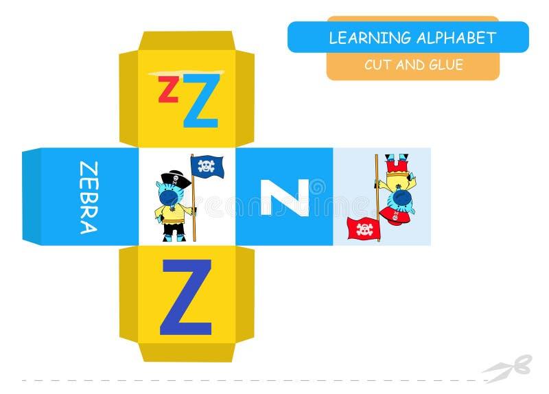 Ut del ¡ di Ð ed incollare il cubo: Lettera Z Gioco educativo per i bambini A-z sveglio di alfabeto dello zoo nel vettore per i b royalty illustrazione gratis