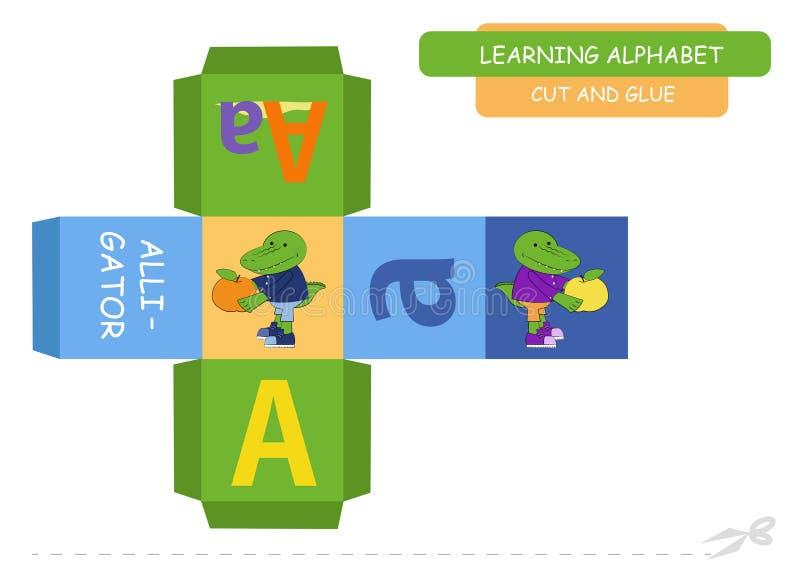 Ut del ¡de Ð y pegar el cubo: Letra A Juego educativo para los ni?os A-z lindo del alfabeto del parque zoológico en el vector par stock de ilustración