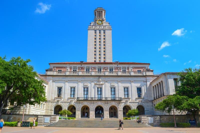 UT toren bij Universiteit van Texas Austin College Campus royalty-vrije stock foto