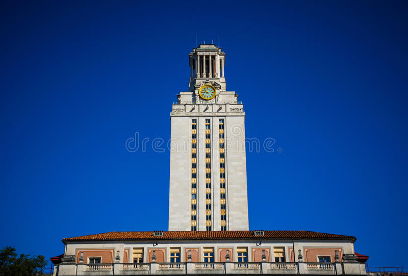 UT Tower Clock Tower Landmark of Austin Texas University Blue Sky Background royalty free stock photo