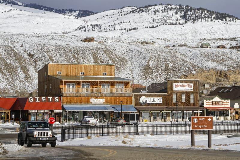 Ut ur Gardiner Montana arkivfoto
