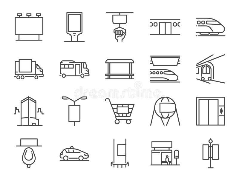 Ut ur hem- massmedia fodra symbolsuppsättningen Bland annat symboler som annonserar, utomhus- annonsering, marknadsföring, utomhu stock illustrationer