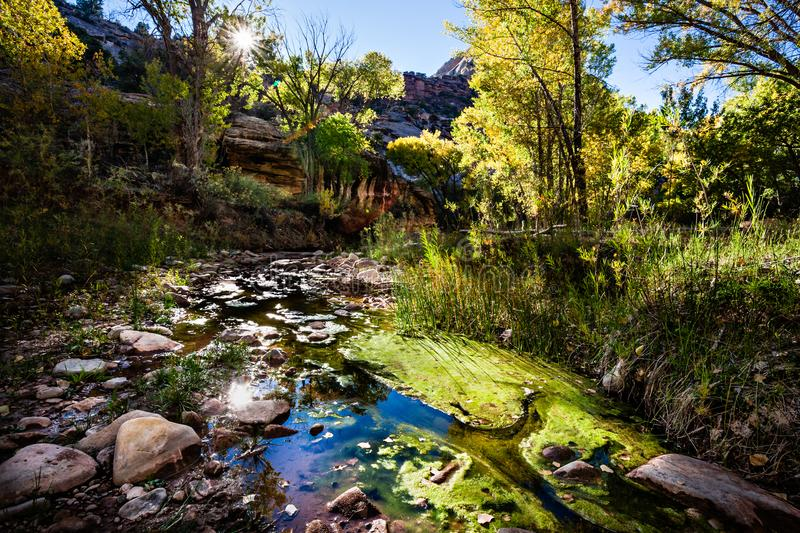 Utah Autumn Scenery - Canyonlands-Strom lizenzfreies stockbild