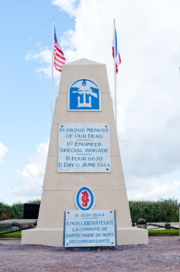 Utah Beach Memorial for 1st Engineer Special brigade. Utah beach, France - October 11, 2014 Utah Beach Memorial for 1st Engineer Special brigade, This beach was royalty free stock image