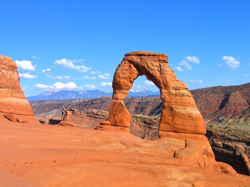 Utah delikat båge i bågeUSA-nationalparken, Förenta staterna arkivbilder
