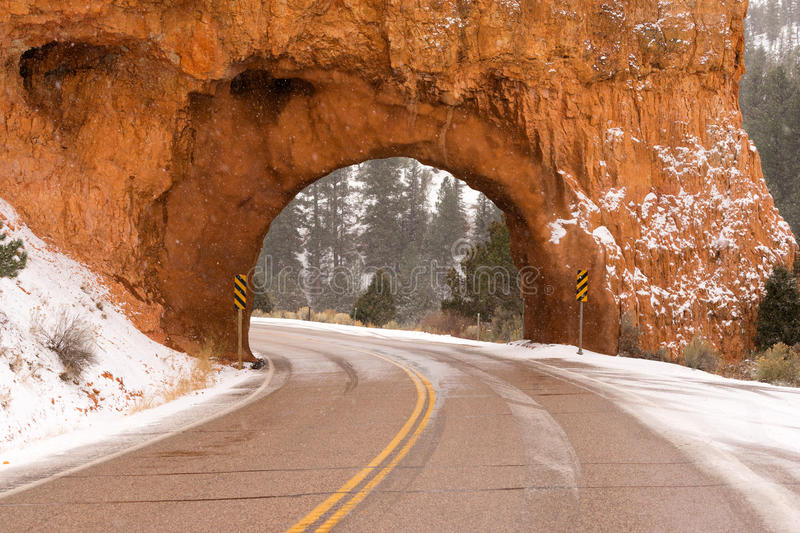 Utah Highway 12 Tunnel Through Red Canyon Winter Snow royalty free stock photos