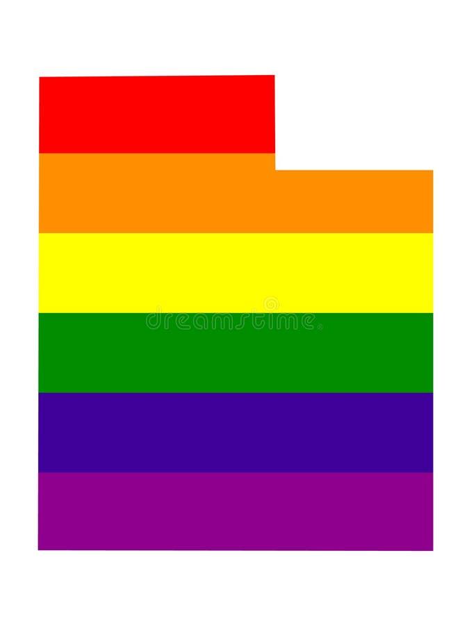 Utah mapa z LGBT flagą ilustracja wektor
