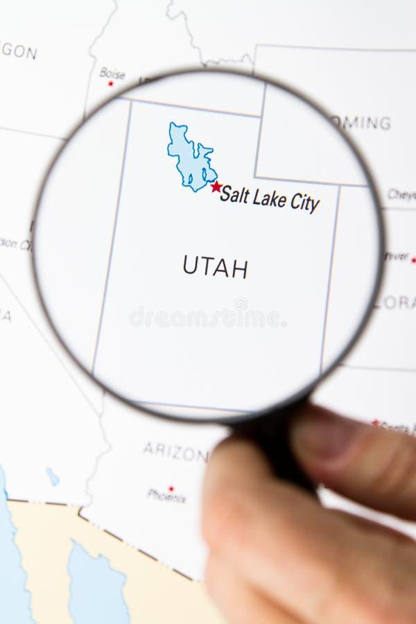 Utah mapa z słonego jeziora miastem obraz stock