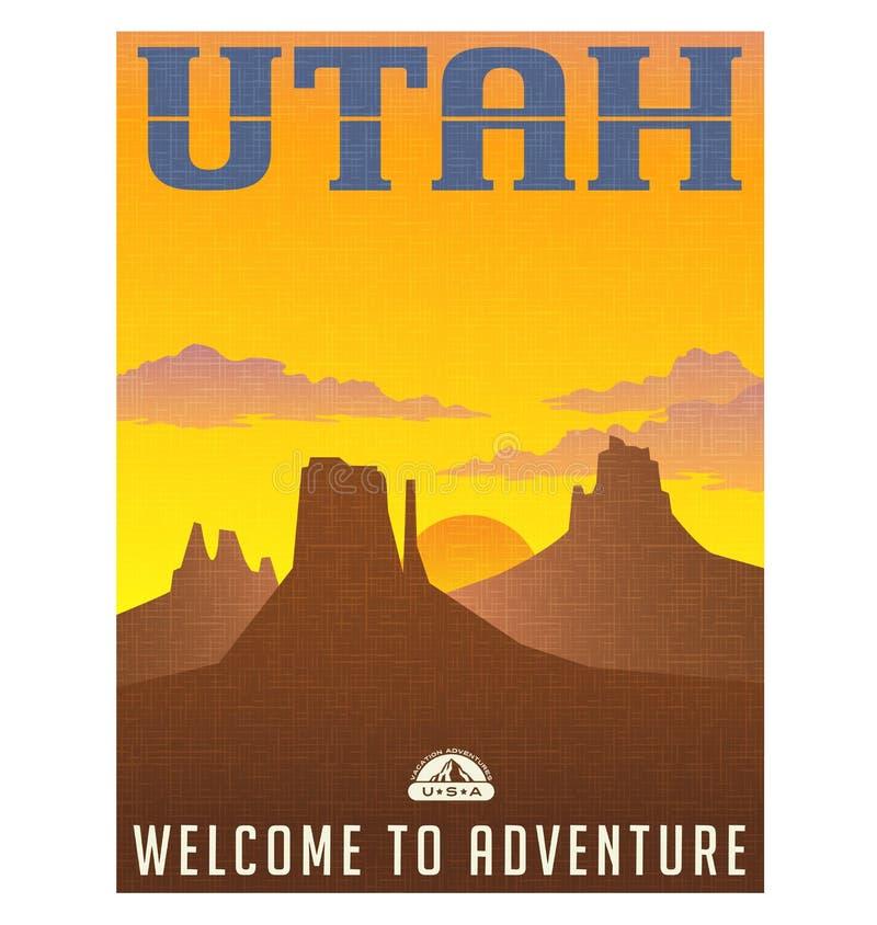 Utah podróży majcher lub plakat ilustracji