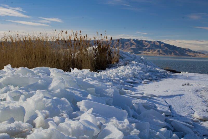 Utah Seeeisschilder im Winter stockbild