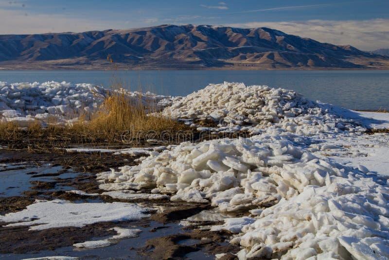 Utah Seeeisschilder im Winter lizenzfreies stockfoto