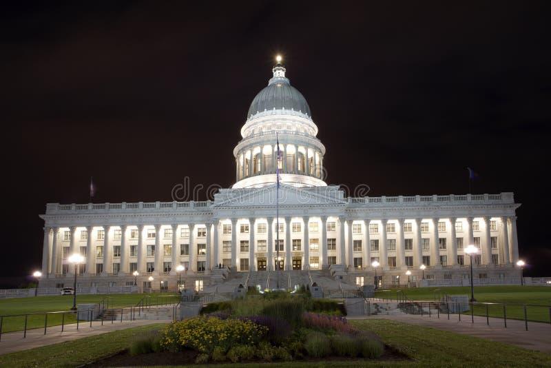 Utah State Capitol. A view of Utah State Capitol at night stock images