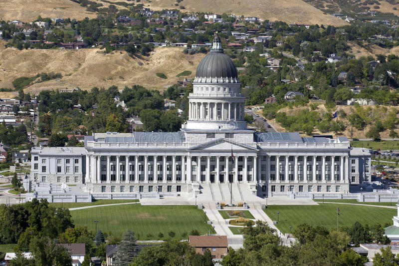 Utah State Capitol. Aerial view of Utah State Capitol during the day in Salt Lack City royalty free stock photos