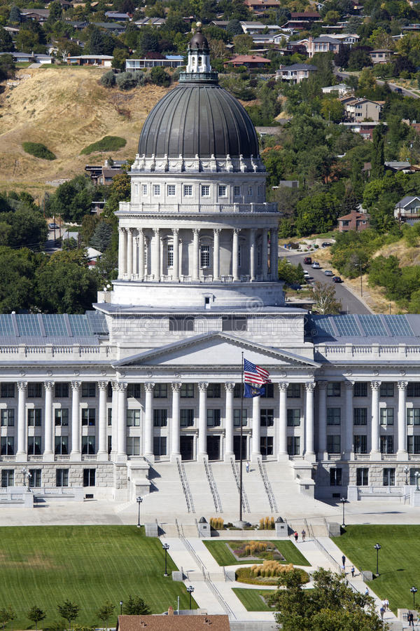 Utah State Capitol. Aerial view of Utah State Capitol during the day in Salt Lack City stock photo