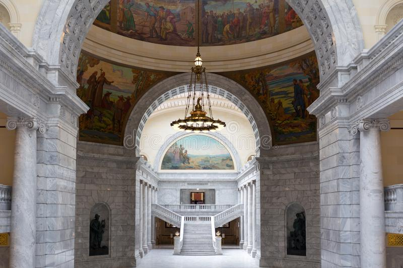 Utah State Capitol indoor. Domed ceiling and stairs stock photos