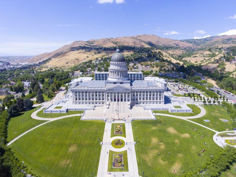 Utah State Capitol, Salt Lake City, USA. Aerial view of Utah State Capitol in Salt Lake City, Utah, USA royalty free stock image