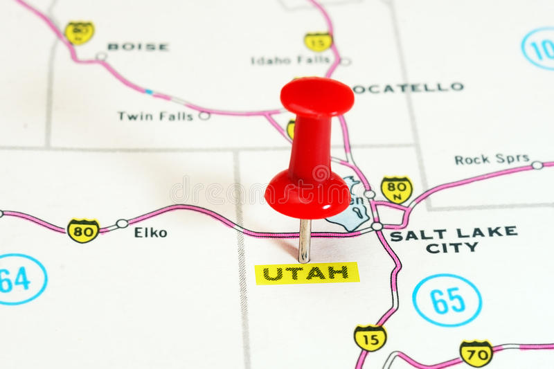 Utah USA map. Close up of Utah state USA map with red pin - Travel concept royalty free stock photos